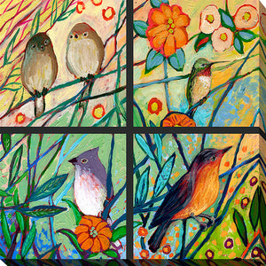 "Giclee Stretched Canvas Wall Art by Jennifer Lommers ""Bird Quadrant III"", All Canavs Art,Floral,All Colors,All Shapes,All Artists,multi-color art,Square Shape,Jennifer Lommers"