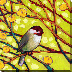 "Giclee Stretched Canvas Wall Art by Jennifer Lommers ""Bird V"", All Canavs Art,Floral,All Colors,All Shapes,All Artists,yellow art,Square Shape,Jennifer Lommers"