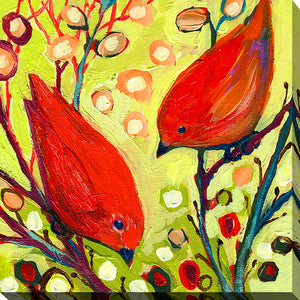 "Giclee Stretched Canvas Wall Art by Jennifer Lommers ""Bird VI"", All Canavs Art,Floral,All Colors,All Shapes,All Artists,yellow art,Square Shape,Jennifer Lommers"