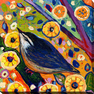"Giclee Stretched Canvas Wall Art by Jennifer Lommers ""Bird VIII"", All Canavs Art,Floral,All Colors,All Shapes,All Artists,multi-color art,Square Shape,Jennifer Lommers"