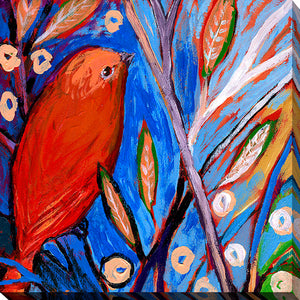 "Giclee Stretched Canvas Wall Art by Jennifer Lommers ""Bird XIII"", All Canavs Art,Floral,All Colors,All Shapes,All Artists,blue art,Square Shape,Jennifer Lommers"