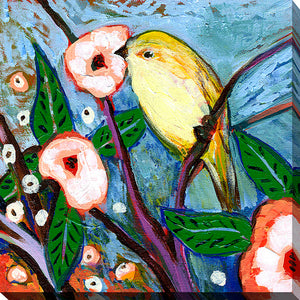 "Giclee Stretched Canvas Wall Art by Jennifer Lommers ""Bird XIX"", All Canavs Art,Floral,All Colors,All Shapes,All Artists,multi-color art,Square Shape,Jennifer Lommers"