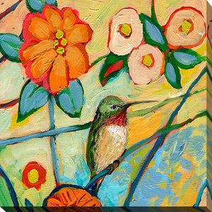 "Giclee Stretched Canvas Wall Art by Jennifer Lommers ""Bird XV"", All Canavs Art,Floral,All Colors,All Shapes,All Artists,multi-color art,Square Shape,Jennifer Lommers"