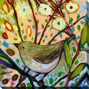 "Giclee Stretched Canvas Wall Art by Jennifer Lommers ""Bird XVIII"", All Canavs Art,Floral,All Colors,All Shapes,All Artists,multi-color art,Square Shape,Jennifer Lommers"