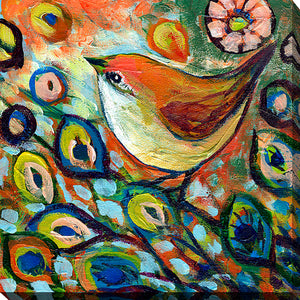 "Giclee Stretched Canvas Wall Art by Jennifer Lommers ""Bird XX"", All Canavs Art,Floral,All Colors,All Shapes,All Artists,multi-color art,Square Shape,Jennifer Lommers"