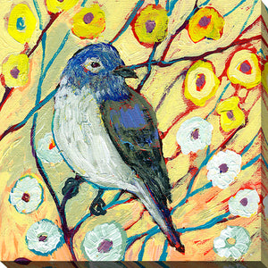 "Giclee Stretched Canvas Wall Art by Jennifer Lommers ""Bird XXIII"", All Canavs Art,Floral,All Colors,All Shapes,All Artists,yellow art,Square Shape,Jennifer Lommers"