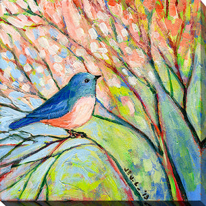 "Giclee Stretched Canvas Wall Art by Jennifer Lommers ""Blue Bird"", All Canavs Art,Floral,All Colors,All Shapes,All Artists,multi-color art,Square Shape,Jennifer Lommers"