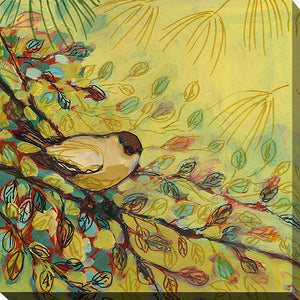 "Wall Art by Jennifer Lommers ""Gold Finch Resting"", All Canavs Art,Floral,All Colors,All Shapes,All Artists,yellow art,Square Shape,Jennifer Lommers"