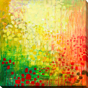 "Wall Art by Jennifer Lommers ""Immersed No2"", All Canavs Art,Floral,All Colors,All Shapes,All Artists,multi-color art,Square Shape,Jennifer Lommers"