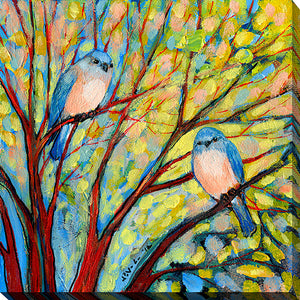 "Wall Art by Jennifer Lommers ""Two Bluebirds"", All Canavs Art,Floral,All Colors,All Shapes,All Artists,multi-color art,Square Shape,Jennifer Lommers"