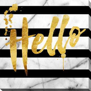 "Wall Art by Working Girls Design ""Hello"", All Canvas Art,All Subjects,Word Art,All Colors,All Shapes,All Artists,black & white art,Square Shape,BY Jodi"