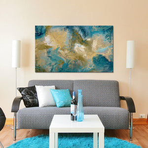 "Giclee Stretched Canvas Wall Art by Mark Lawrence ""Your Eyes Will See. Isaiah 33:17"",Canvas Art,Abstract,Mark Lawrence,All Artists,blue art,Landscape Shape"
