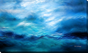 "Giclee Stretched Canvas Wall Art by Mark Lawrence ""The Raging Of The Water. Luke 8:24"",Canvas Art,Abstract,Mark Lawrence,All Artists,blue art,Landscape Shape"