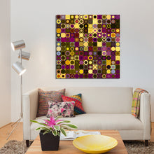 "Giclee Stretched Canvas Wall Art by Mark Lawrence ""Circles and Squares 27."",Canvas Art,Abstract,Mark Lawrence,All Artists,purple art,Square Shape"