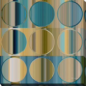 "Giclee Stretched Canvas Wall Art by Mark Lawrence ""Circles and Squares 48 ."",Canvas Art,Abstract,Mark Lawrence,All Artists,blue art,Square Shape"