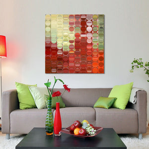 "Giclee Stretched Canvas Wall Art by Mark Lawrence ""Circles and Squares 42."",Canvas Art,Abstract,Mark Lawrence,All Artists,red art,Square Shape"