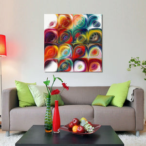 "Giclee Stretched Canvas Wall Art by Mark Lawrence ""Circles and Squares 44"",Canvas Art,Abstract,Mark Lawrence,All Artists,multi-color art,Square Shape"