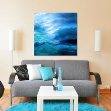 "Giclee Stretched Canvas Wall Art by Mark Lawrence ""The Raging Of The Water. Luke 8:24"",Canvas Art,Abstract,Mark Lawrence,All Artists,blue art,Square Shape"