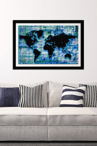 "BY Jodi ""Mad World Blue"" Framed Acrylic  Fashion Art"