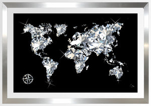 "BY Jodi ""World Of Diamonds"" Framed Acrylic  Fashion Art"