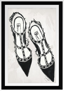 "BY Jodi ""Black Stud V Shoes"" Framed Acrylic  Fashion Art"