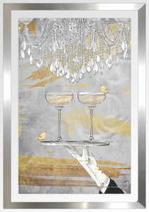"BY Jodi ""Cheers Gold"" Framed Acrylic  Fashion Art"