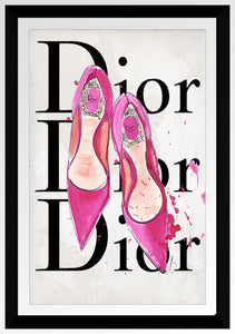 "BY Jodi ""C Pink Dior Shoes"" Framed Acrylic  Fashion Art"