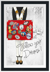 "BY Jodi ""Follow Your Dreams"" Framed Acrylic  Fashion Art"