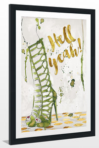 "BY Jodi ""Hell Yeah"" Framed Acrylic  Fashion Art"
