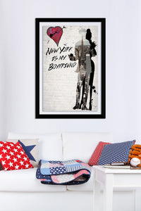 "BY Jodi ""New York Is My Boyfriend"" Framed Acrylic  Fashion Art"