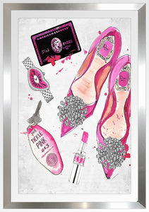 "BY Jodi ""Night At The Tickle Pink 2"" Framed Acrylic  Fashion Art Shoes"