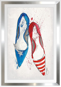 "BY Jodi ""Red White And Fabulous 1"" Framed Acrylic  Fashion Art Shoes"