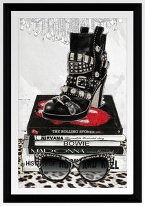 "BY Jodi ""Rock On"" Framed Acrylic  Fashion Art Shoes"