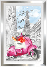 "BY Jodi ""Scoot Around Paris In Pink"" Framed Acrylic  Fashion Art"