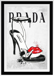 "BY Jodi ""Smoking Shoe Prada"" Framed Acrylic  Fashion Art"
