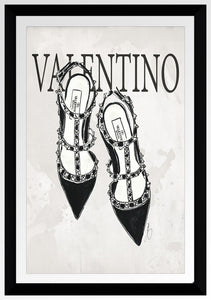"BY Jodi ""Valentino In Black"" Framed Acrylic  Fashion Art Shoe"