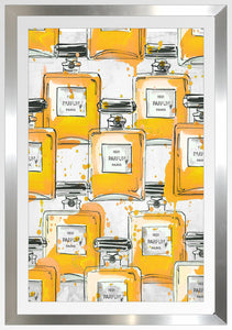 "BY Jodi ""Yellowperfume Bottles Re Mix"" Framed Acrylic  Fashion Art"
