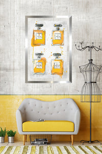 "BY Jodi ""Yellowperfume Bottles X4"" Framed Acrylic  Fashion Art"