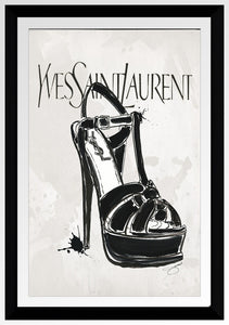 "BY Jodi ""Ysl In Black"" Framed Acrylic  Fashion Art Shoes"