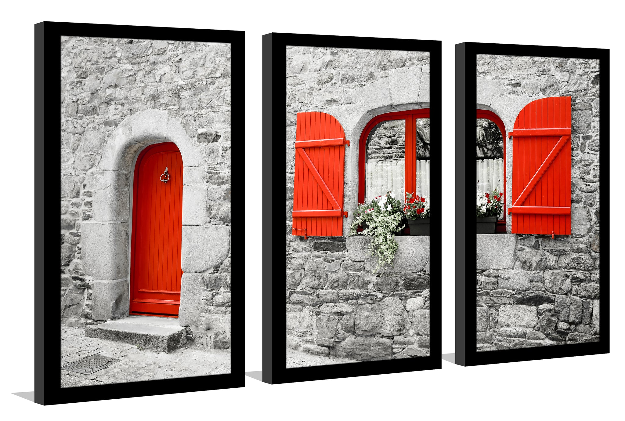 The Red Door Framed Plexiglass Wall Art Set Of 3 Picture Perfect Int