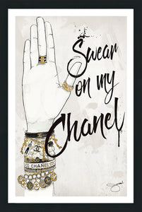 "BY Jodi ""Swear On My Chanel"" Framed acrylic  Wall decor"