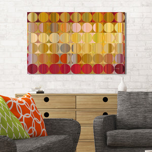 Mark Lawrence Circles and Squares 57 Golden Red Canvas Wall Art