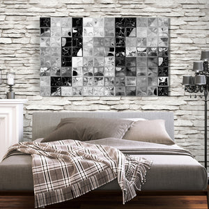 Mark Lawrence Shades of GrayTile Mosaic Canvas Wall Art
