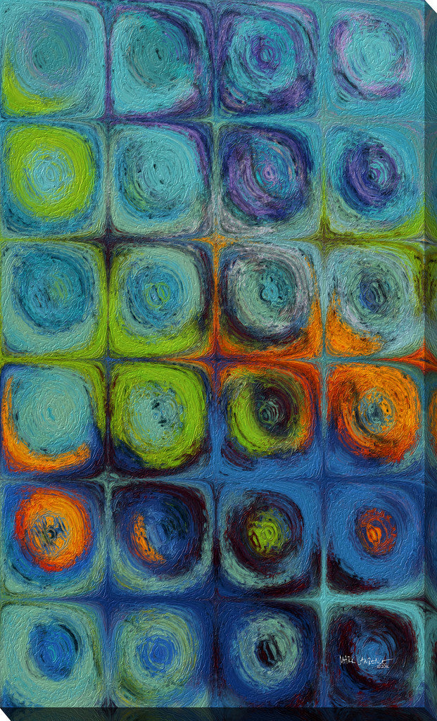 Mark Lawrence Circles and Squares 52 Textured Aqua Oils  1 of 3 Canvas Wall Art