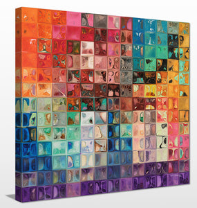 Mark Lawrence Rainbow Refractions Modern Mosaic Tile Art Painting Canvas Wall Art