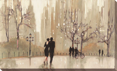 An Evening Out Neutral by Julia Purinton Print on Canvas Cityscapes,Romance,Brown art,Landscape Shape,All Canvas Art,Julia Purington