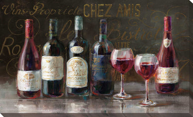 Bistro Reds v.2 Crop Print on Canvas Food and beverage,Brown art,Landscape Shape,All Canvas Art,Danhui Nai