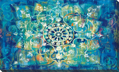 Mandala in Blue I Bright Print on Canvas Abstract,Blue art,Landscape Shape,All Canvas Art,Danhui Nai