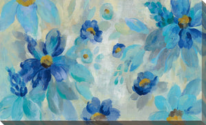 Blue Flowers Whisper I by Silvia Vassileva Print on Canvas Floral,Blue art,Landscape Shape,All Canvas Art,Silvia Vassileva