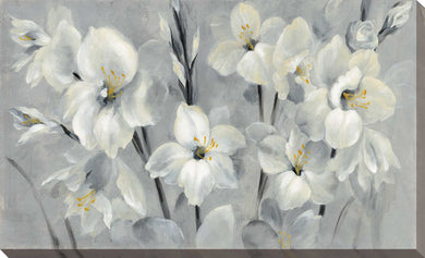 Flowers on Gray by Silvia Vassileva Print on Canvas Floral,Gray art,Landscape Shape,All Canvas Art,Silvia Vassileva
